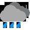 Cielos cubiertos con lluvia moderada